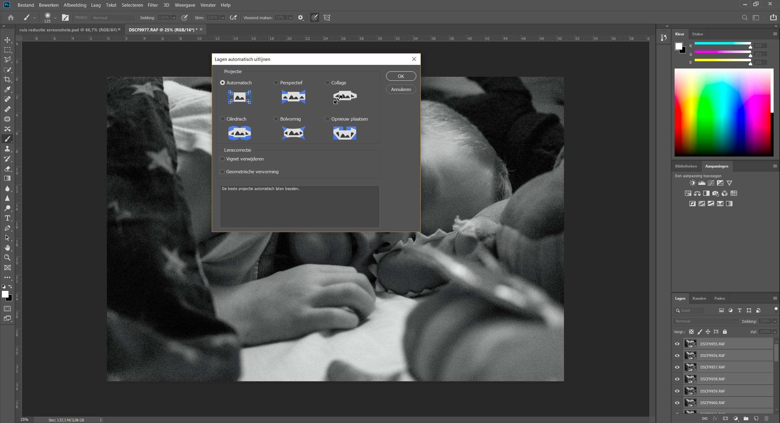 Voorbeeld van foto's uitlijnen in Photoshop