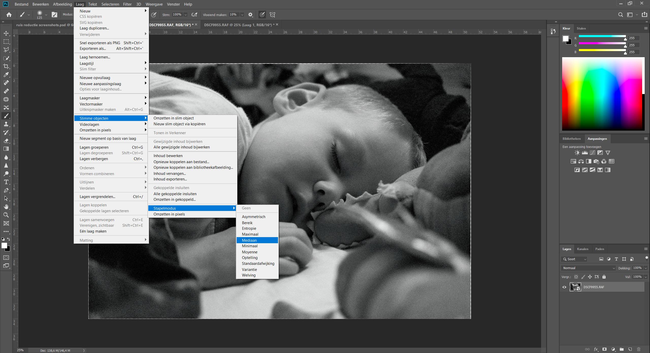 Voorbeeld van instellen van de stapelmodus bij een slim object in photoshop voor ruis verwijdering