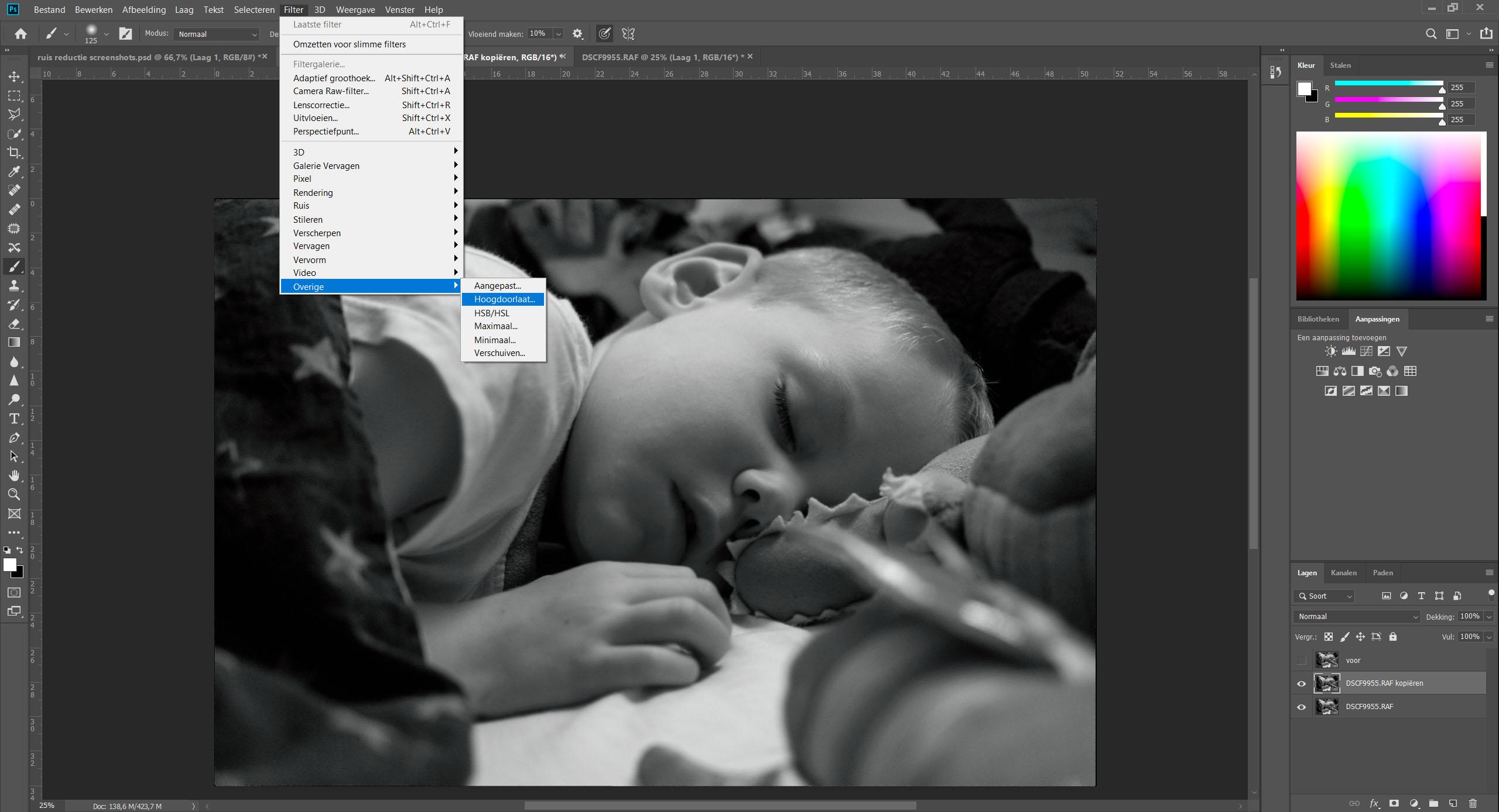 Voorbeeld van verscherpen in photoshop